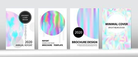 Holographic Gradient Vector Background. Hologram Minimal Light Covers Set. Iridescent Gradient Overlay Holograph Unfocused Cover.  Liquid Holo Bright Trendy Layout. Rainbow Magazine Print Template. Ilustração