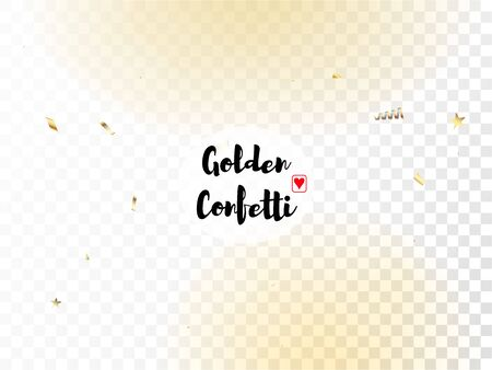 Modern Gold Confetti, Falling Stars, Streamers, Tinsel. Cool Platinum Christmas, New Year, Birthday Party Holiday Border. Horizontal Bright Sparkles Background. Gold Confetti, Falling Down Stars. Vettoriali