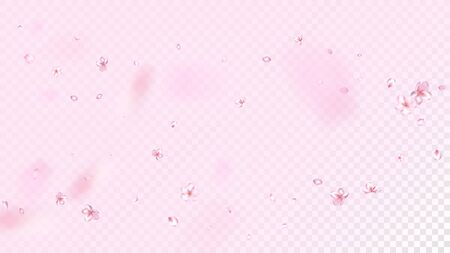 Nice Sakura Blossom Isolated Vector. Pastel Showering 3d Petals Wedding Paper. Japanese Style Flowers Illustration. Valentine, Mothers Day Watercolor Nice Sakura Blossom Isolated on Rose 向量圖像