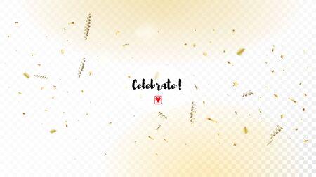 Modern Gold Explosion, Stars, Streamers, Tinsel Burst. Horizontal Stars Night Sky Background. Cool Elegant Christmas, New Year, Birthday Party Holiday Border. Gold Explosion, Streamers Burst.