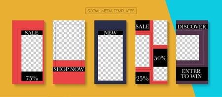 Modern Stories Vector Background. Hipster Sale, New Arrivals Story Layout. Online Shop Graphic Invitation Phone. Blogger Tech Covers, Social Media Kit Template. Social Media Stories Simple Set