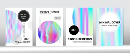 Holographic Gradient Vector Background. Rainbow Magazine Print Template. Iridescent Gradient Overlay Holograph Unfocused Cover. Hologram Minimal Light Covers Set. Dreamy Holo Bright Trendy Layout.