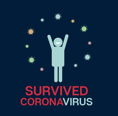 Survived Coronavirus Quarantine Banner. COVID-19 Prevention Infographic. Survived Coronavirus Cartoon nCoV 19 Vector Design. Survived Virus Protection Flat Cartoon. Corona Virus Social Distance Banner