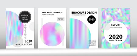 Holographic Gradient Vector Background. Pearlescent Gradient Overlay Holograph Unfocused Cover. Rainbow Magazine Print Template. Hologram Minimal Light Covers Set. Dreamy Holo Bright Trendy Layout.