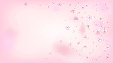 Nice Sakura Blossom Isolated Vector. Realistic Blowing 3d Petals Wedding Frame. Japanese Gradient Flowers Wallpaper. Valentine, Mother's Day Pastel Nice Sakura Blossom Isolated on Rose