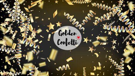 Modern Christmas Tinsel Confetti, Falling New Year Gold. Horizontal Fairy Night Sky Background. Cool Elegant Christmas, New Year, Birthday Party Holiday Texture. Gold Christmas Tinsel Confetti