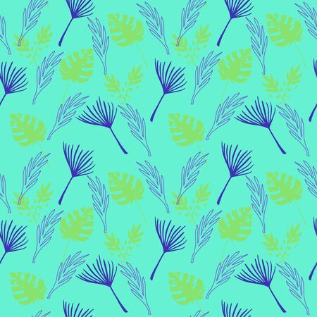 Modern Tropical Vector Seamless Pattern. Beautiful Male Shirt Female Dress Texture. Feather Monstera Dandelion Banana Leaves Tropical Seamless Pattern. Drawn Floral Background. Chic Summer Fabrics.