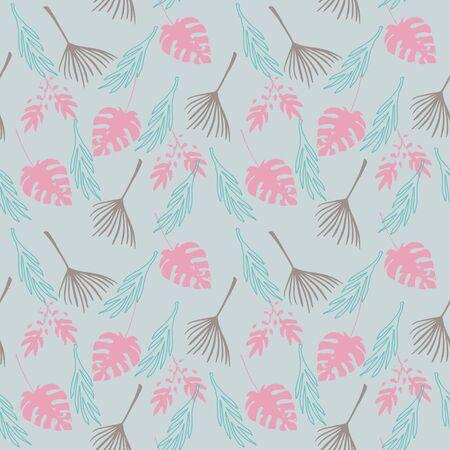 Modern Tropical Vector Seamless Pattern. Feather Dandelion Monstera Banana Leaves Tropical Seamless Pattern. Fine Summer Fabrics. Drawn Floral Background. Beautiful Male Shirt Female Dress Texture. Иллюстрация