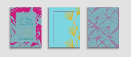 Abstract Elegant Vector Flyers Set. Noble Olive Leaves Invitation Layout. Hand Drawn Retro Background. Japanese Style Invitation. Geometric Border Texture. Tie-Dye, Tropical Leaves Covers. Иллюстрация