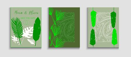 Abstract Retro Vector Posters Set. Geometric Frame Texture. Oriental Style Invitation. Hand Drawn Elegant Background. Tie-Dye, Tropical Leaves Covers. Cool Olive Leaves Magazine Design. Иллюстрация