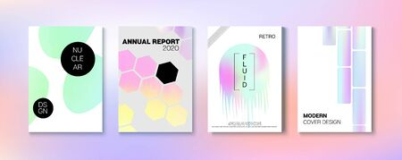 Holographic Gradient Vector Background. Dreamy Holo Bright Trendy Layout. Hologram Business Soft Covers Set. Fluorescent Gradient Overlay Holograph Unfocused Cover. Rainbow Magazine Print Template.