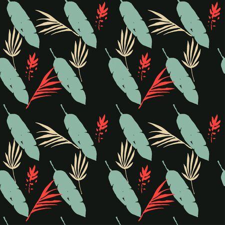 Modern Tropical Vector Seamless Pattern. Cool Summer Textile. Doodle Floral Background. Elegant Male Shirt Female Dress Texture. Monstera Banana Leaves Dandelion Feather Tropical Seamless Pattern.