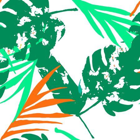 Palm, Banana Leaves Vector Seamless Pattern, Orange Green Vivid Exotic Floral Fabric Design.  Botanical Jungle Leaves Winter Fabric. Childrens Graffiti Background. Exotic Floral Seamless Print