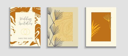 Abstract Vintage Vector Cards Set. Geometric Border Pattern. Tie-Dye, Tropical Leaves Flyers. Minimal Banana Leaves Magazine Layout. Hand Drawn Asian Background. Japanese Style Invitation. Иллюстрация