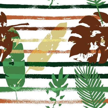 Sailor Stripes Vector Seamless Pattern, Brown Green Khaki Exotic Floral Print. Hand Painted Jungle Leaves Winter Fabric. Female Grunge Background. Tropic Exotic Seamless Textile