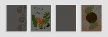 Abstract Elegant Vector Cards Set. Hand Drawn Hipster Background. Soft Banana Leaves Magazine Layout. Oriental Style Invitation. Tie-Dye, Tropical Leaves Covers. Geometric Border Pattern.