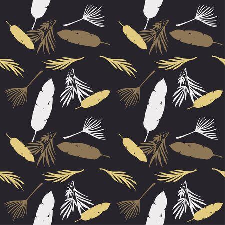 Hipster Tropical Vector Seamless Pattern. Nice Summer Fabrics. Elegant Male Shirt Female Dress Texture. Dandelion Monstera Feather Banana Leaves Tropical Seamless Pattern. Painted Floral Background.