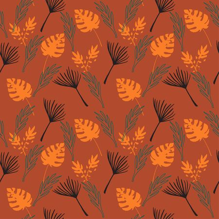 Funky Tropical Vector Seamless Pattern. Monstera Feather Dandelion Banana Leaves Tropical Seamless Pattern. Elegant Male Shirt Female Dress Texture. Fine Summer Fashion. Doodle Floral Background. 일러스트