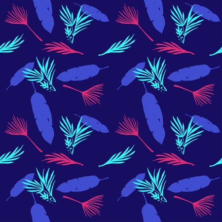 Trendy Tropical Vector Seamless Pattern. Painted Floral Background. Feather Monstera Banana Leaves Dandelion Tropical Seamless Pattern. Beautiful Male Shirt Female Dress Texture. Nice Summer Fashion.