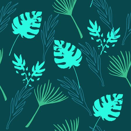 Hipster Tropical Vector Seamless Pattern. Beautiful Male Shirt Female Dress Texture. Drawn Floral Background. Dandelion Feather Banana Leaves Monstera Tropical Seamless Pattern. Nice Summer Fabrics. Иллюстрация