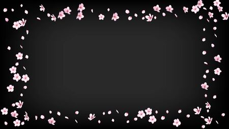 Nice Sakura Blossom Isolated Vector. Pastel Falling 3d Petals Wedding Border. Japanese Blurred Flowers Wallpaper. Valentine, Mother's Day Realistic Nice Sakura Blossom Isolated on Black Иллюстрация