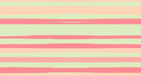 Orange, Brown Vector Watercolor Sailor Stripes Funky Seamless Summer Pattern. Horizontal Brushstrokes Retro Vintage Grunge Textile Clothe Design. Ink Painted Doodle Lines, Geometric Track Prints  イラスト・ベクター素材