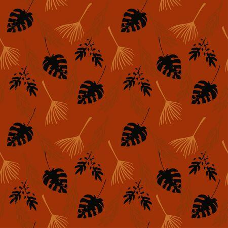 Trendy Tropical Vector Seamless Pattern. Nice Summer Fabrics. Elegant Male Shirt Female Dress Texture. Monstera Dandelion Feather Banana Leaves Tropical Seamless Pattern. Doodle Floral Background.