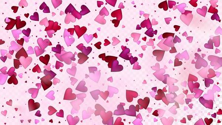 Flying Hearts Vector Confetti. Valentines Day Tender Pattern. Beautiful Pink Sparkles Valentines Day Decoration with Falling Down Hearts Confetti. Modern Gift, Birthday Card, Poster Background