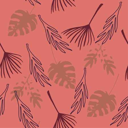 Funky Tropical Vector Seamless Pattern. Drawn Floral Background. Banana Leaves Feather Dandelion Monstera Tropical Seamless Pattern. Nice Summer Textile. Elegant Male Shirt Female Dress Texture.