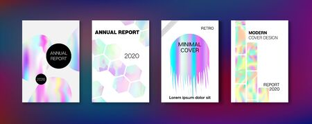 Holographic Gradient Vector Background. Rainbow Magazine Print Template. Pearlescent Gradient Overlay Holograph Unfocused Cover.  Liquid Holo Bright Trendy Layout. Hologram Business Soft Covers Set.