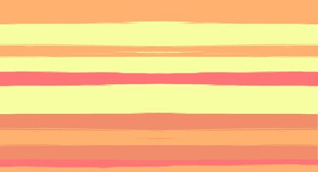 Orange, Brown Vector Watercolor Sailor Stripes Nice Seamless Summer Pattern. Horizontal Brushstrokes Retro Vintage Grunge Fabric Fashion Design. Hand Painted Ink Lines, Male or Female Clothing