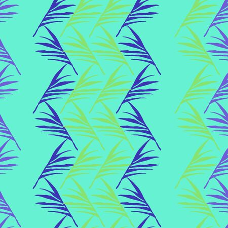 Funky Tropical Vector Seamless Pattern. Elegant Male Shirt Female Dress Texture. Painted Floral Background. Feather Dandelion Monstera Banana Leaves Tropical Seamless Pattern. Chic Summer Fashion.