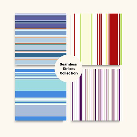 Sailor Stripes Seamless Pattern Set. Hipster Fashion Background Spring Autumn Trendy Fashion Fabric. Swimming Suit Lines Retro Lines Endless Design. Childrens Male Female Seamless Stripes Texture. Illustration