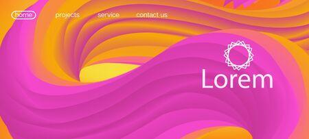 Futuristic Vibrant Gradient Wallpaper. Landing Page, Orange, Pink Background. Funky Liquid Shape Banner. Neon Color Website Template. 3d Fluid Lucid Vector Background. Dynamic Motion Trendy Wave. Ilustração