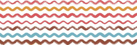 Cool Wavy Zigzag Stripes Vintage Pattern. Ink Brushed Lines Banner. Autumn Winter Funky Fashion Fabric. Torn Vector Watercolor Paint Lines. Spring Summer Distress Stripes. Cool Graffiti Trace.