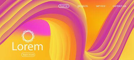 Geometric Bright Gradient Overlay. Landing Page, Orange, Pink Background. Neon Color Website Design. Trendy Liquid Wave Banner. Dynamic Motion Modern Wave. 3d Fluid Vivid Vector Background. Ilustração