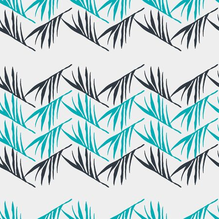 Trendy Tropical Vector Seamless Pattern. Feather Monstera Banana Leaves Dandelion Tropical Seamless Pattern. Beautiful Male Shirt Female Dress Texture. Cool Summer Fashion. Doodle Floral Background. Ilustracja
