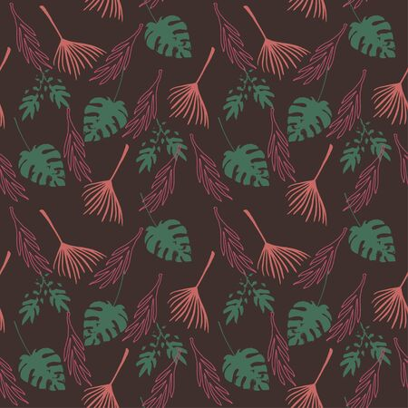Trendy Tropical Vector Seamless Pattern. Nice Summer Textile. Elegant Male Shirt Female Dress Texture. Dandelion Banana Leaves Monstera Feather Tropical Seamless Pattern. Painted Floral Background. Ilustracja