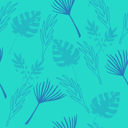 Modern Tropical Vector Seamless Pattern. Drawn Floral Background. Nice Summer Fashion. Elegant Male Shirt Female Dress Texture. Monstera Dandelion Feather Banana Leaves Tropical Seamless Pattern.