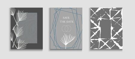 Abstract Hipster Vector Posters Set. Tie-Dye, Tropical Leaves Flyers. Simple Banana Leaves Magazine Template. Oriental Style Invitation. Hand Drawn Retro Background. Geometric Frame Texture.