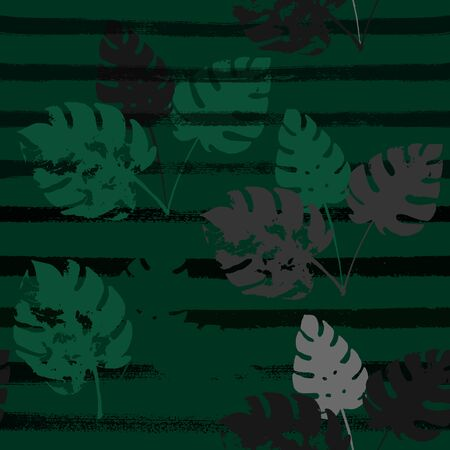 Palm, Banana Leaves Vector Seamless Pattern, Brown Green Khaki Exotic Floral Print. Watercolor Jungle Leaves Winter Fabric. Female Uneven Background. Tropical Fabric Seamless Print