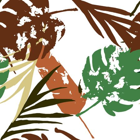 Palm, Banana Leaves Vector Seamless Pattern, Brown Green Khaki Exotic Floral Print. Bohemian Jungle Leaves Autumn Fabric. Childrens Uneven Background. Exotic Floral Seamless Design