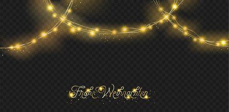 Lights Garland Premium Decoration. Winter Holidays Sparkling Garland. Luxury New Year, Christmas Party Banner. Lights Garland, Glitter Pattern. German Merry Christmas Lettering. Golden, Silver Illustration