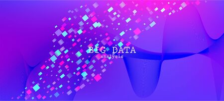 Falling Particles Distressed Purple Vector. Data Analytics Cool Banner. Punk Geometric Background. 3D Flow Shapes Poster. Pink Blue Purple Futuristic Gradient Overlay. Big Data Neon Wallpaper.