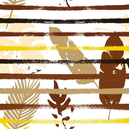 Sailor Stripes Vector Seamless Pattern, Brown Yellow Earth Tone Exotic Fabric. Botanical Jungle Leaves Winter Fabric. Childrens Uneven Background. Tropical Floral Seamless Fabric Vetores