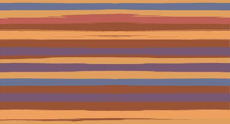 Orange, Brown Vector Watercolor Sailor Stripes Navy Seamless Summer Pattern. Horizontal Brushstrokes Retro Vintage Hipster Textile Fashion Design. Ink Painted Doodle Lines, Geometric Track Prints  イラスト・ベクター素材