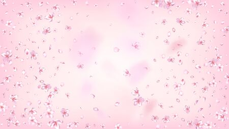 Nice Sakura Blossom Isolated Vector. Magic Blowing 3d Petals Wedding Border. Japanese Oriental Flowers Illustration. Valentine, Mother's Day Watercolor Nice Sakura Blossom Isolated on Rose