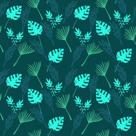 Modern Tropical Vector Seamless Pattern. Beautiful Male Shirt Female Dress Texture. Banana Leaves Dandelion Feather Monstera Tropical Seamless Pattern. Nice Summer Fabrics. Drawn Floral Background. 일러스트
