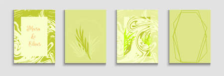 Abstract Asian Vector Flyers Set. Hand Drawn Minimal Background. Painted Forms Lines in Oriental Style. Geometric Frame Pattern. Soft, Elegant Magazine Layout. Tie-Dye, Tropical Leaves Cards