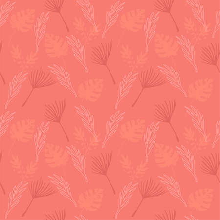 Modern Tropical Vector Seamless Pattern. Cool Summer Fashion. Dandelion Feather Monstera Banana Leaves Tropical Seamless Pattern. Beautiful Male Shirt Female Dress Texture. Drawn Floral Background.